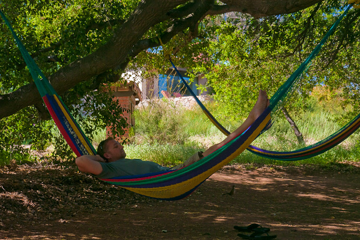 travel blogger dave in a hammock