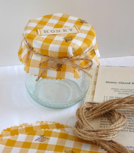 yellow gingham honey jar covers