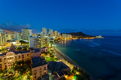 Waikiki Beach Blue Hour - [EXPLORED] (andreaskoeberl) Tags: ocean longexposure usa seascape beach night dark lights hawaii lowlight nikon waikiki clear citylights bluehour 1685 d7000 nikon1685 nikond7000 andreaskoeberl