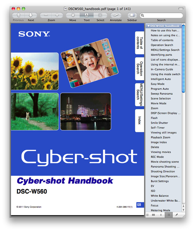 Sony W560 Manual (Advanced Cyber-shot Handbook)