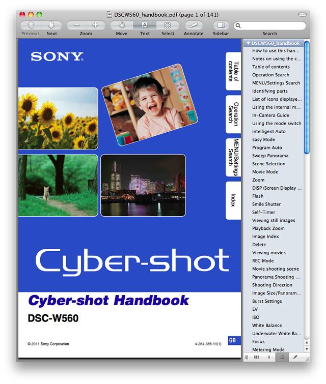 Sony W560 Manual (Advanced Cyber-shot Handbook)