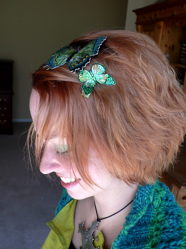 Green butterfly hairclips