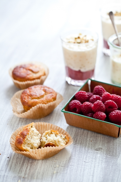 Raspberry Rhubarb Tapioca Pudding With Poppy Seed Lemon Muffins