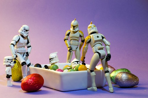 The mini clones ate taking a bath in the easter candy bowl