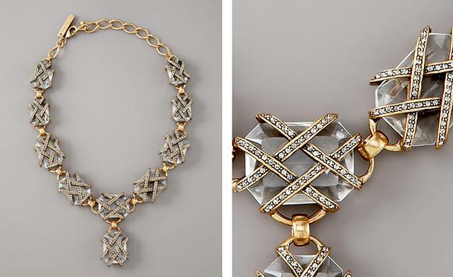 Oscar de la Renta Woven Pave-Strap Necklace