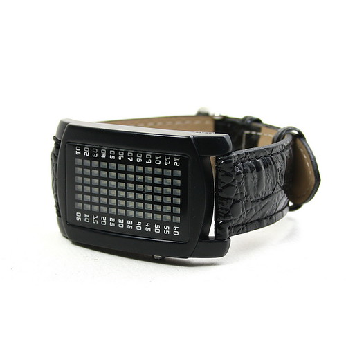 New 72 LED Red LED Digital Unsex Black Leather Watch