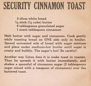 Peanuts Cook Book Recipe Cinnamon Toast