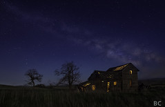 Lights, camera, action (Ben Canales) Tags: longexposure blue trees sky house abandoned field grass night farmhouse dark stars lost star washington space wheat ruin galaxy nebula lit starry milkyway bencanales thestartrail