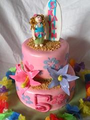 luau birthday cake (iheartcakegf) Tags: birthday flower girl cake montana hula greatfalls lei cupcake hibiscus fantasy luau surfboard figure fondant cricut