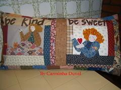 Essa Baronesinha adora um Ricardo ! -  Another big cushion .Apliqu work  (baronesinha100@gmail.com). (baronesinha_baronesinha) Tags: quilt patchwork marron cushion aplicaes ricardo almofado bigcushion