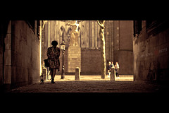 The Walk (Jeff Krol) Tags: street city people woman dog sun sunlight church statue walking square gold golden utrecht domtoren downtown pentax stones walk streetlife tunnel mexican cinematic remains centrum 135mm pentaxsmc allroadsleadtorome smcpentax135mmf25 jeffkrol hoomark pentaxsmcpa135mmf25
