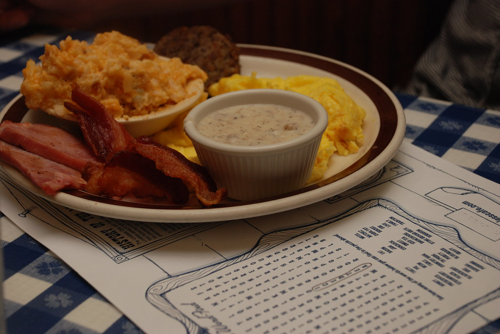 eggs, bacon, gravy, sausage, and hash brown casserole at the Loveless Cafe in Nashville, Tennessee