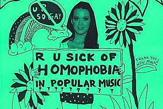 Queer Rock Camp flyer that says R U sick of homophobia in popular music?