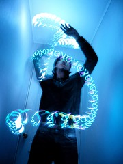 ... loves lights. (-Sebastian Vargas-) Tags: door blue light night ball dark painting lights pants sebastian chinese cyan jeans jacket loves gadget vargas mira cosmicolor miraball