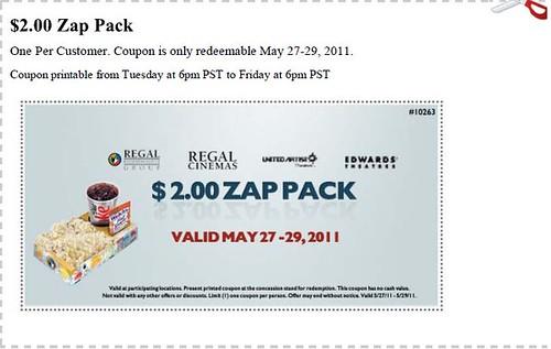 Regal Cinemas Zap Pack Coupon