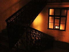 thanks for visiting (Detonation Boulevard) Tags: windows light house home window wall stairs lights iron flat budapest steps atmosphere step staircase walls ironwork