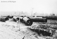 Plate No. 179 - Steel Pipe - McClure Plant  Mechanical Dept. (Central Upper Peninsula and NMU Archives) Tags: blackandwhitephotograph ironmining clevelandcliffsironcompany mcclureplant