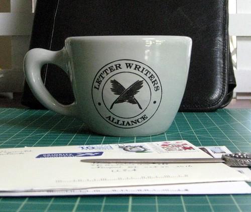 LWA mug with letters