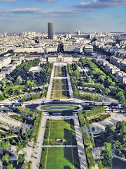 View of Champ de Mars from the Eiffel Tower, Paris (williamcho) Tags: park city paris france buildings cityscape eiffeltower landmark champdemars sevenwonders digitalimaging seineriver ironlady kartpostal globalicon tourismattraction topazlabadjust williamcho sonydscwx1 patrickcheah