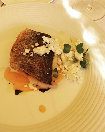 Sea bream on sweet and sour pumpkin with cauliflower