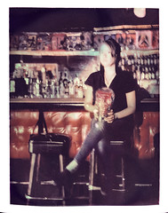 Anita at The Stork Club (2812 photography) Tags: polaroidlandcamera california portrait negativereclamation peterrosos localbar fujifimfp100c utata:entry=2 eastbay instantfilm haveadrink utata:project=godrinking film analog