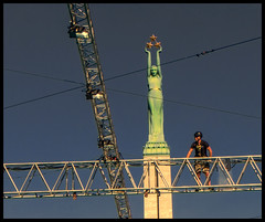 The view from on high (judmac1) Tags: scaffold monument statue freedom riga