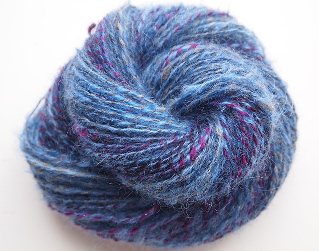 Boysenberry, mohair, nylon, alpaca, corriedale, and glitz, 149yds-2ply-1