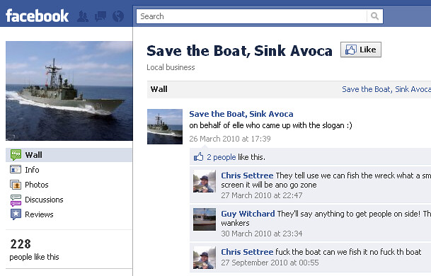 Save the Boat, Sink Avoca Facebook group page