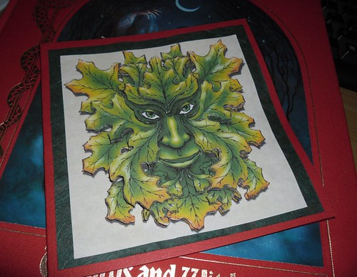 Green Man Decoupage Card  by Last Exit for the Lost