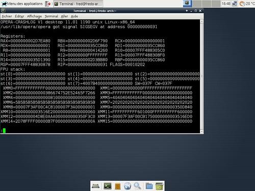 Crash au lancement d'Opera 11.01 sous xfce 4.8.1