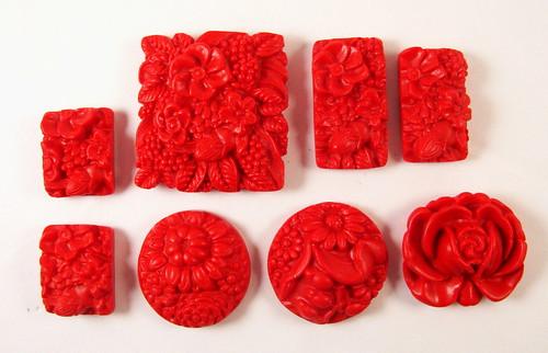 Floral Gardens Series - Faux Cinnebar Cabochons/Pendants