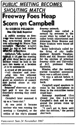 1967 Freeway fight, Vancouver Sun