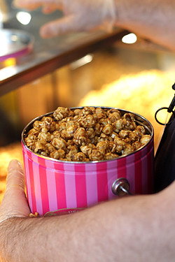 tub of Garrett's caramel corn