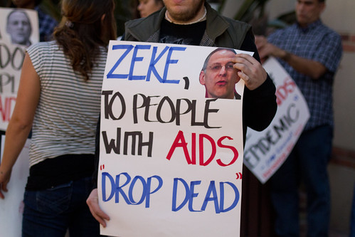AHF Protests Ezekiel Emanuel at UCLA Over Obama AIDS Policies 11411