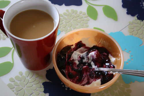 coffee, chobani, wild blueberry preserves