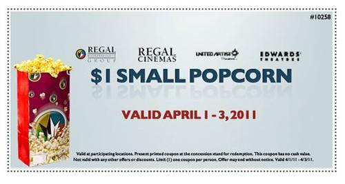 Regal Cinemas $1 Small Popcorn Coupon