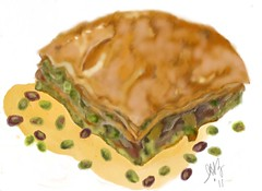 """Baklava"" by Iris H. Zuares  - Second set of drawings for ""Real Eats"" Magazine (eyewrisz) Tags: baklava greekpastry storywithillustrationofbaklava"