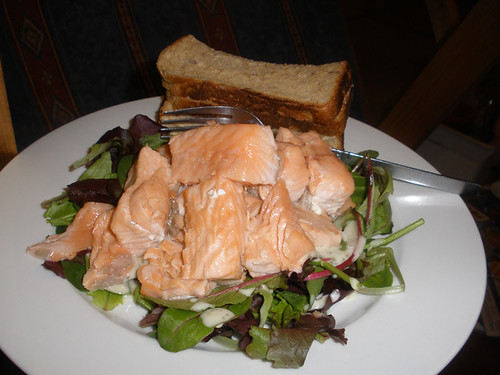 Nuked salmon with salad & bread