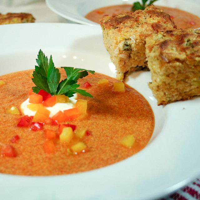 Red Bell Pepper Soup and Cheesy Jalapeno Cornbread • The Healthy ...