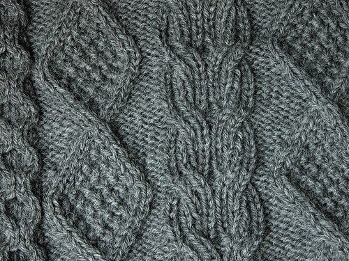 Moss stitch diamond and ribbed cable