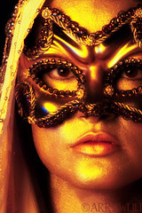 metallic 2 (arrowlili) Tags: selfportrait gold mask coins metallic masquerade shawl drama tamron2875mm canoneos50d