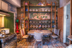 Sweet Olive B&B: The Kitchen (christian.senger) Tags: wood travel brown abandoned wall digital vintage silver table geotagged grey cafe chair nikon louisiana doors oven flag telephone neworleans gray decoration indoor gas pot tiles frenchquarter patriotism abundance hdr lightroom d300 photomatix gettyvacation2010 utata:project=kitsch foursquare:venue=1594081 christiansenger:year=2011