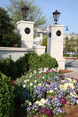 North Hills Entry Pillars with Tulips (Visit North Hills) Tags: flowers green sign architecture tulips landscaping entrance raleigh midtown pillars northhills midtownraleigh entrypillars marthagrovehipskind