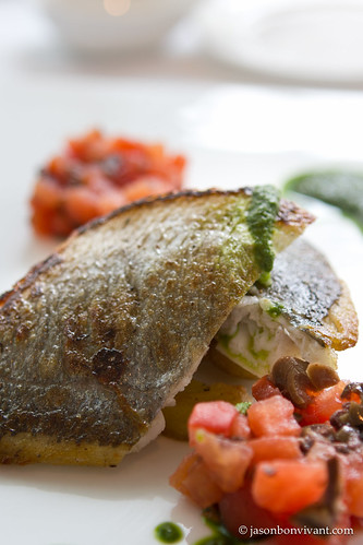 Pan Fried Sea Bream, Dry Tomato Salad, Potato, Basil Sauce