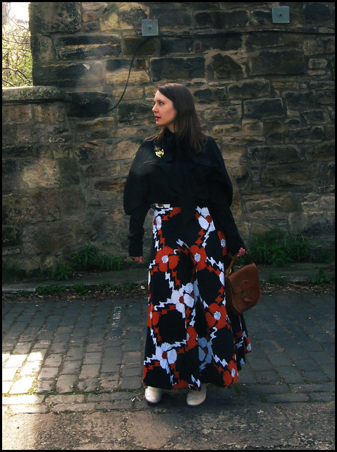 8.4.11: Vintage maxi skirt and puff sleeve blouse