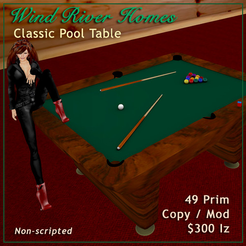 Classic Pool Table by Teal Freenote