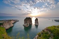 Lebanon Beirut -  AlRouocha (awadi) Tags: blue sunset sky lebanon cloud clouds nikon rocks landmark hour beirut landscpe awadi iawadi alroosha alroucha