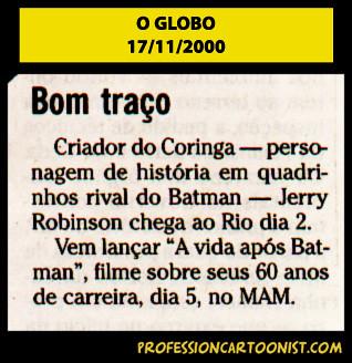 """""""Bom traço"""" - O Globo - 17/11/2000"""