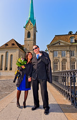Just married! (Tambako the Jaguar) Tags: bridge blue wedding sky woman house man church architecture buildings switzerland nikon couple married perspective together zrich d700