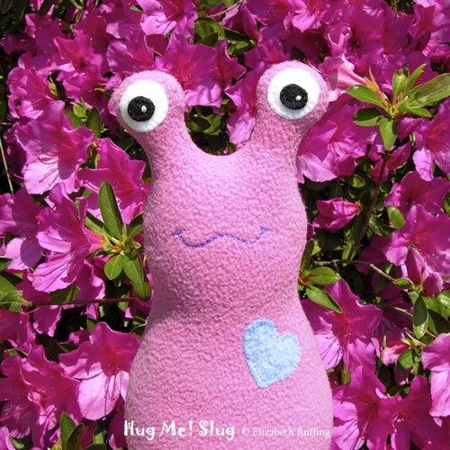 Mauve-pink Fleece Hug Me Slug by Elizabeth Ruffing